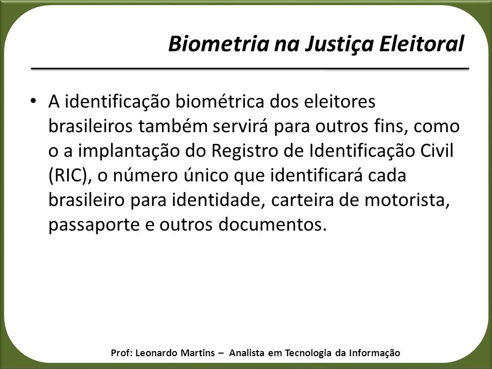 Biometria na Justiça Eleitoral