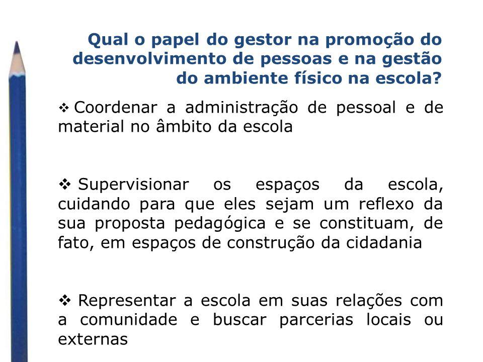 Qual o papel do gestor na promoção do desenvolvimento de pessoas e na gestão do ambiente físico na escola