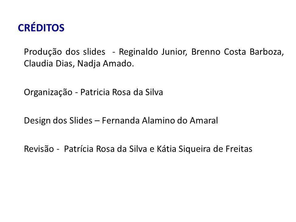 CRÉDITOS Produção dos slides - Reginaldo Junior, Brenno Costa Barboza, Claudia Dias, Nadja Amado. Organização - Patricia Rosa da Silva.