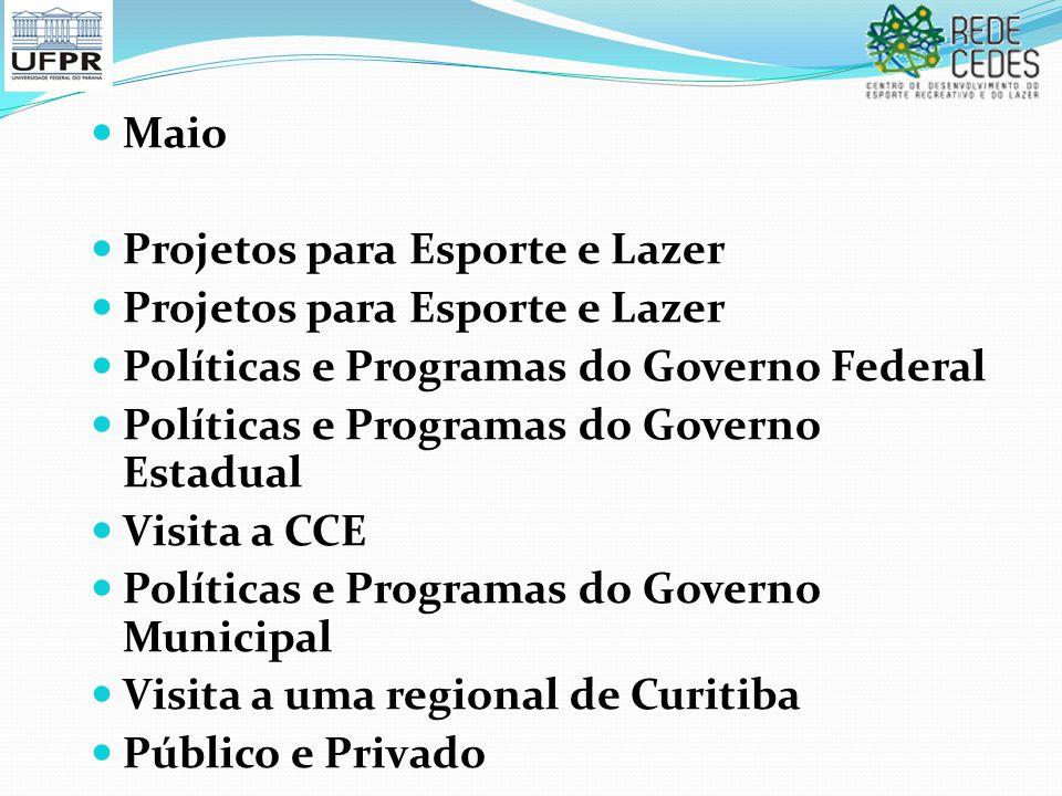 Maio Projetos para Esporte e Lazer. Políticas e Programas do Governo Federal. Políticas e Programas do Governo Estadual.