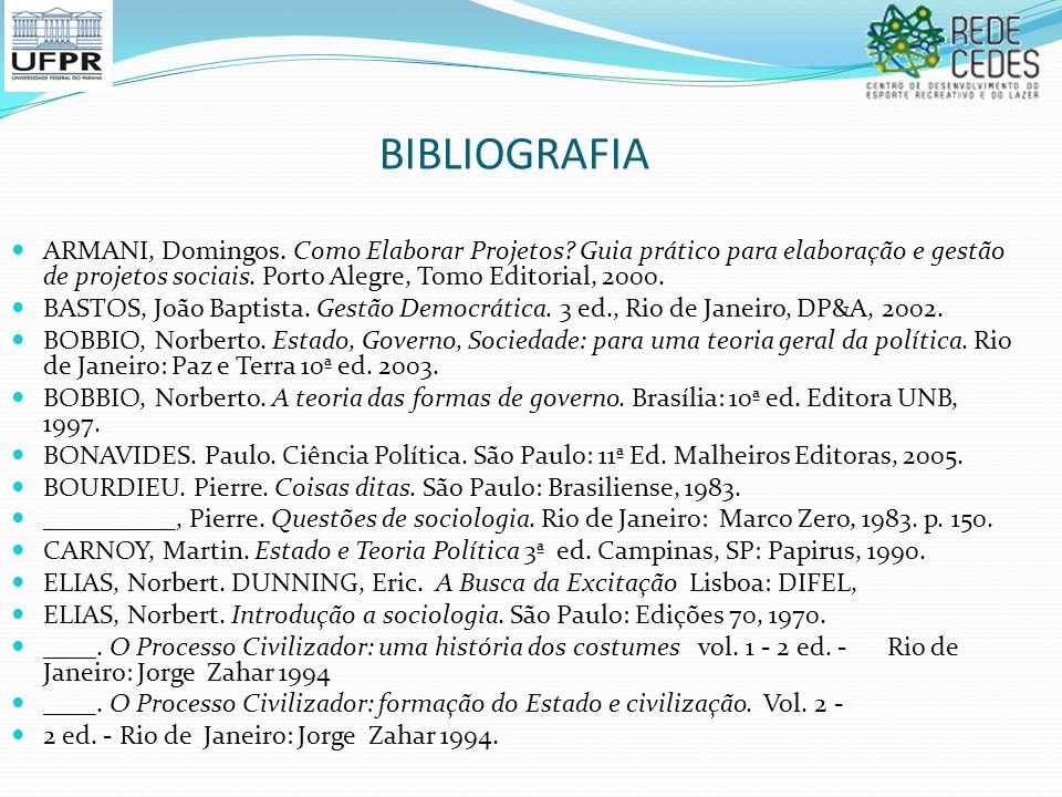 BIBLIOGRAFIA ARMANI, Domingos. Como Elaborar Projetos Guia prático para elaboração e gestão de projetos sociais. Porto Alegre, Tomo Editorial, 2000.