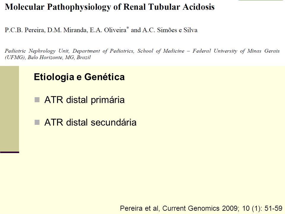 Etiologia e Genética ATR distal primária ATR distal secundária