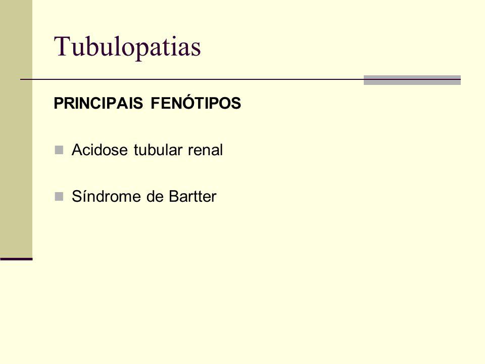 Tubulopatias PRINCIPAIS FENÓTIPOS Acidose tubular renal