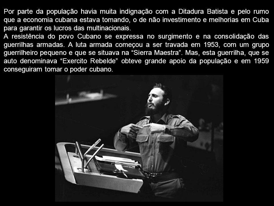 Por parte da população havia muita indignação com a Ditadura Batista e pelo rumo que a economia cubana estava tomando, o de não investimento e melhorias em Cuba para garantir os lucros das multinacionais.