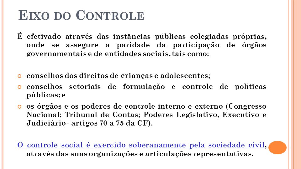 Eixo do Controle