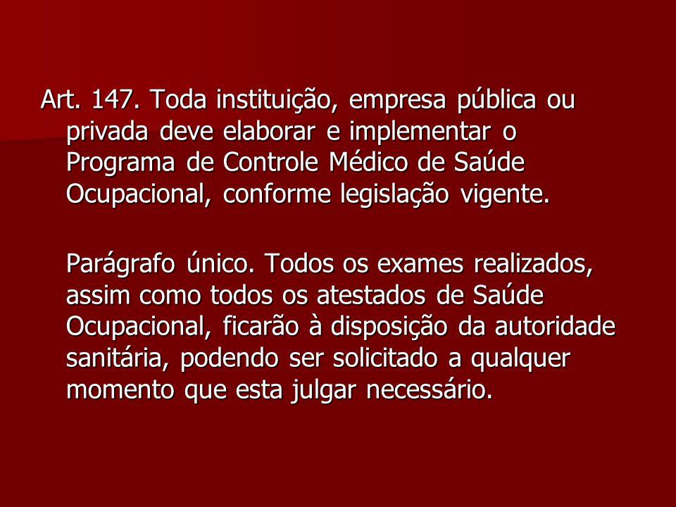 Art. 147. Toda instituição, empresa pública ou privada deve elaborar e implementar o Programa de Controle Médico de Saúde Ocupacional, conforme legislação vigente.