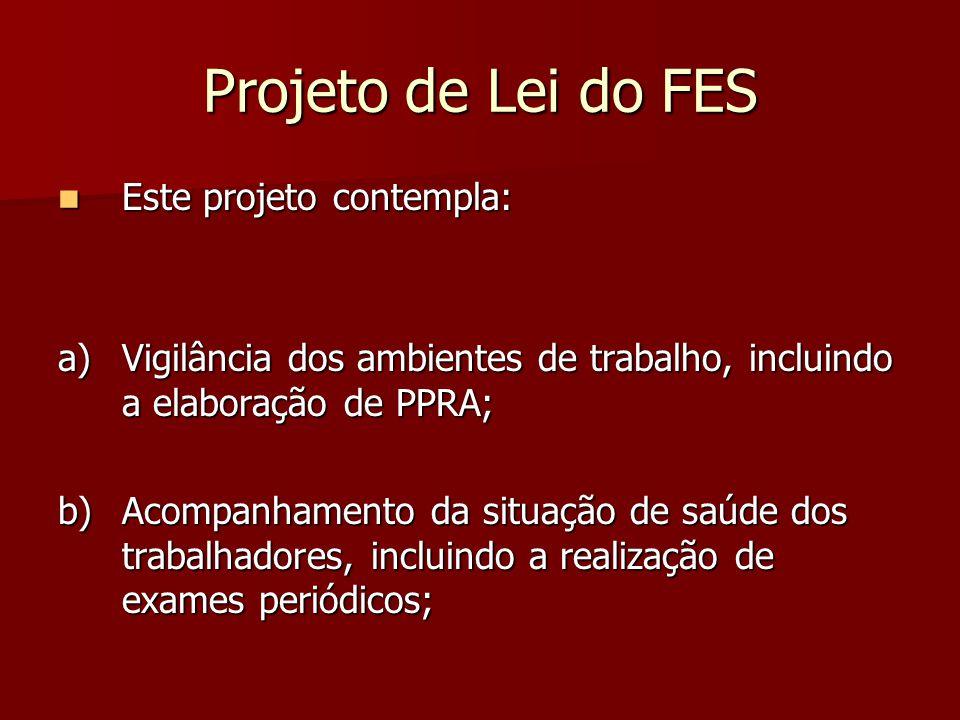 Projeto de Lei do FES Este projeto contempla: