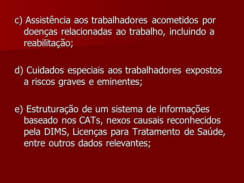 c) Assistência aos trabalhadores acometidos por doenças relacionadas ao trabalho, incluindo a reabilitação;