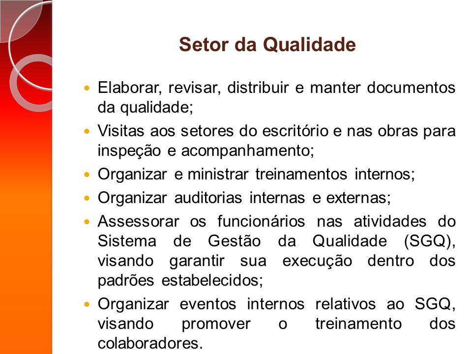 Setor da Qualidade Elaborar, revisar, distribuir e manter documentos da qualidade;