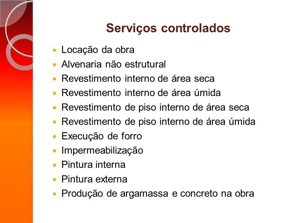 Serviços controlados Locação da obra Alvenaria não estrutural