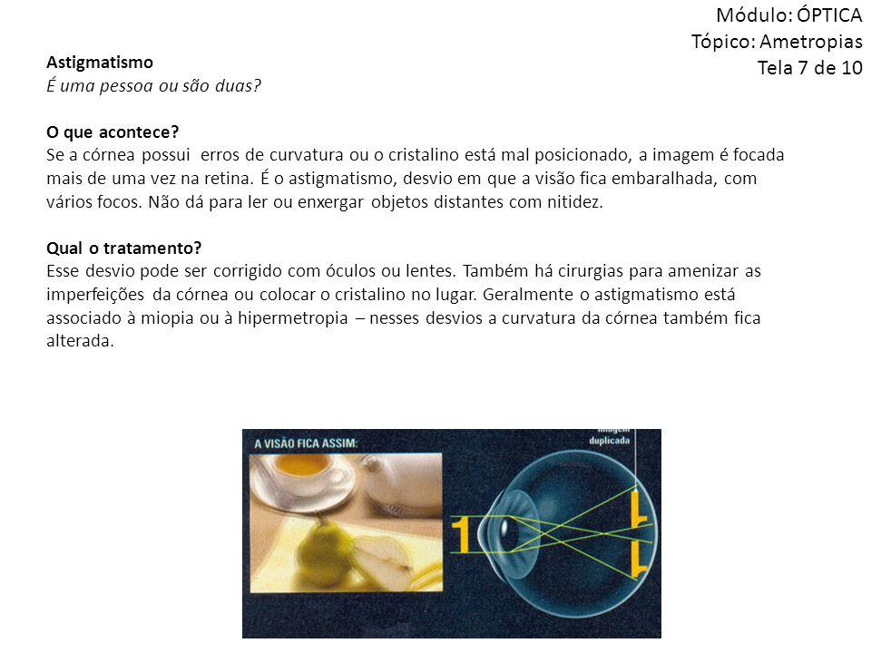 Módulo: ÓPTICA Tópico: Ametropias Tela 7 de 10