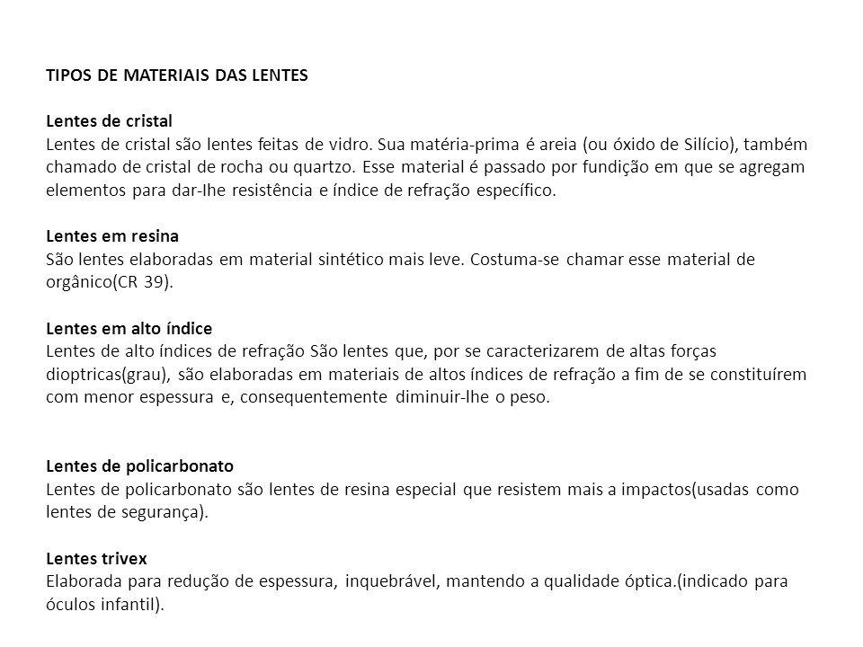 TIPOS DE MATERIAIS DAS LENTES