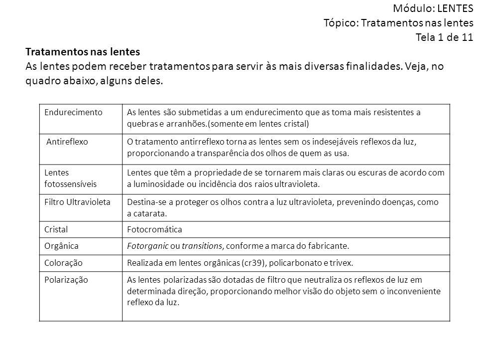 Módulo: LENTES Tópico: Tratamentos nas lentes Tela 1 de 11
