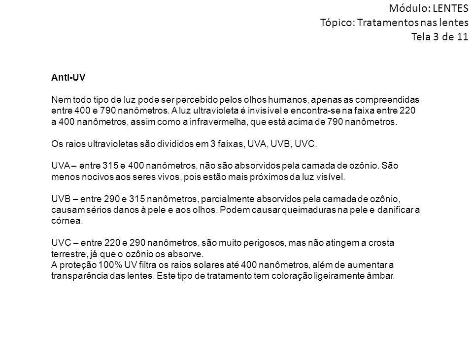Módulo: LENTES Tópico: Tratamentos nas lentes Tela 3 de 11