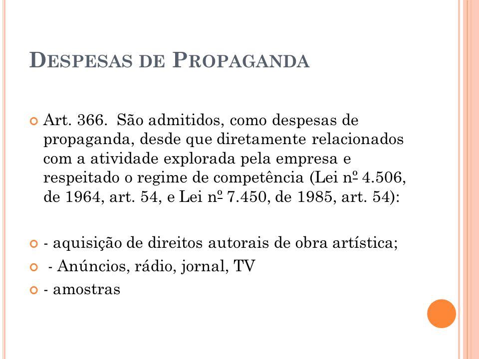 Despesas de Propaganda
