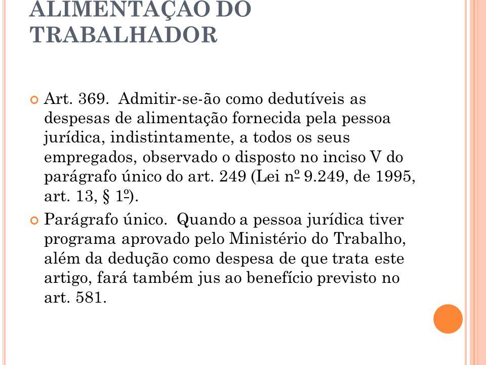 ALIMENTAÇÃO DO TRABALHADOR