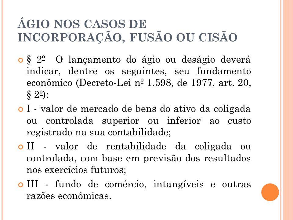 ÁGIO NOS CASOS DE INCORPORAÇÃO, FUSÃO OU CISÃO