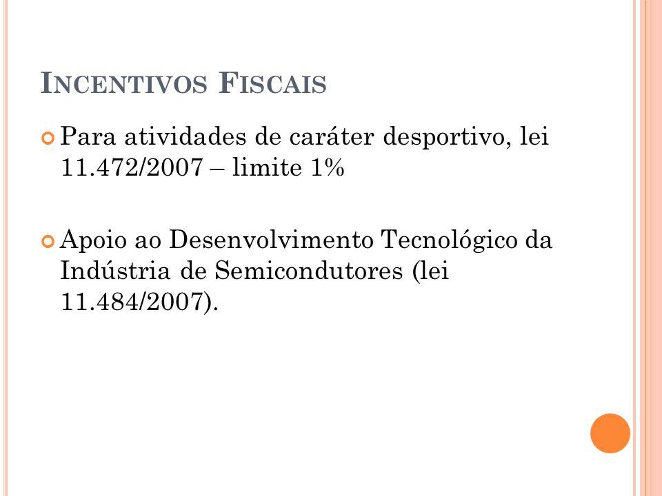 Incentivos Fiscais Para atividades de caráter desportivo, lei 11.472/2007 – limite 1%