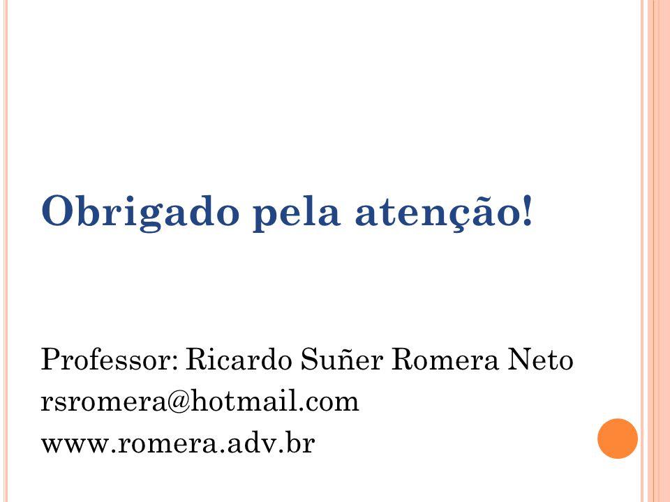 Obrigado pela atenção! Professor: Ricardo Suñer Romera Neto