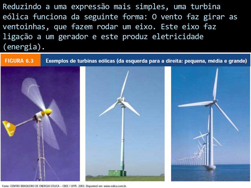 Reduzindo a uma expressão mais simples, uma turbina eólica funciona da seguinte forma: O vento faz girar as ventoinhas, que fazem rodar um eixo.