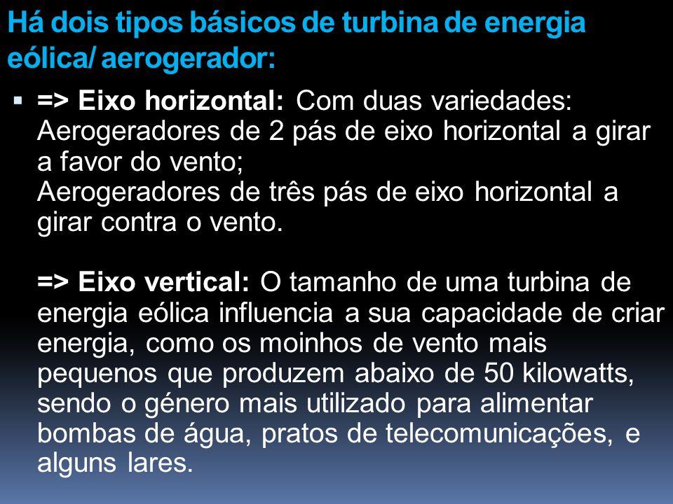 Há dois tipos básicos de turbina de energia eólica/ aerogerador: