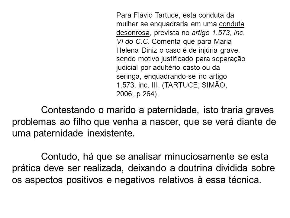 Para Flávio Tartuce, esta conduta da mulher se enquadraria em uma conduta desonrosa, prevista no artigo 1.573, inc. VI do C.C. Comenta que para Maria Helena Diniz o caso é de injúria grave, sendo motivo justificado para separação judicial por adultério casto ou da seringa, enquadrando-se no artigo 1.573, inc. III. (TARTUCE; SIMÃO, 2006, p.264).