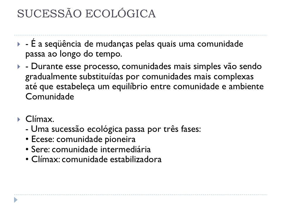 SUCESSÃO ECOLÓGICA - É a seqüência de mudanças pelas quais uma comunidade passa ao longo do tempo.