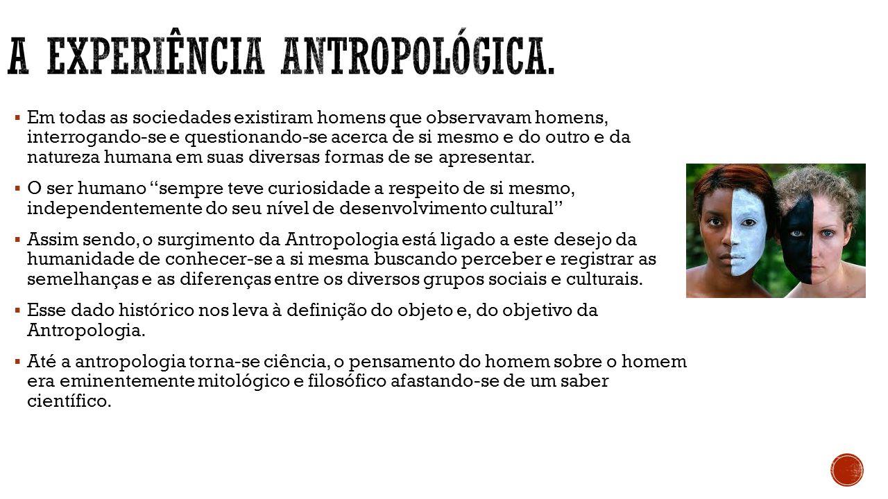 A experiência antropológica.