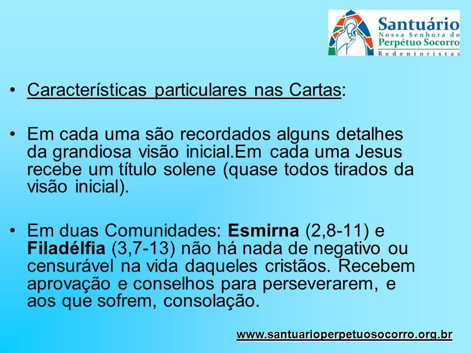 Características particulares nas Cartas: