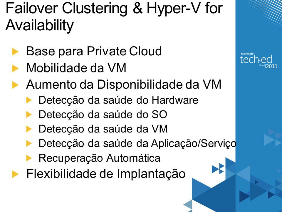 Failover Clustering & Hyper-V for Availability