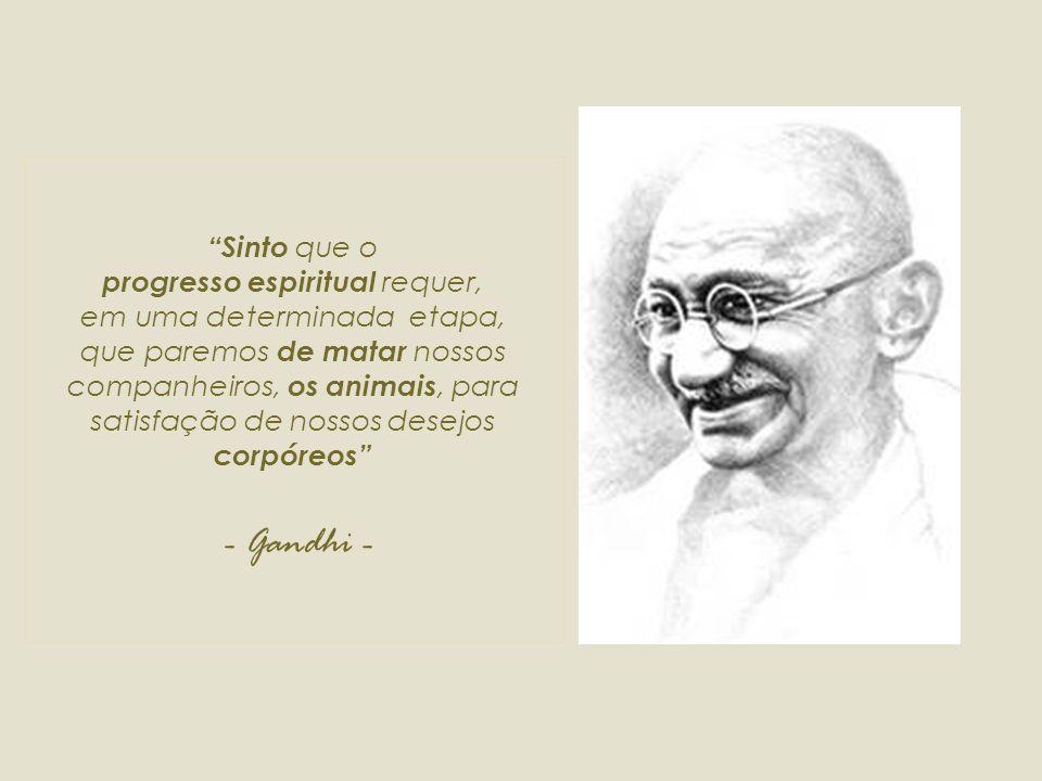 Sinto que o progresso espiritual requer, em uma determinada etapa, que paremos de matar nossos companheiros, os animais, para satisfação de nossos desejos corpóreos - Gandhi -