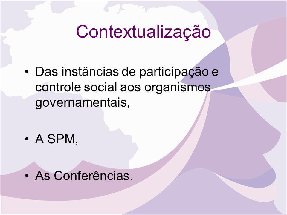 Contextualização Das instâncias de participação e controle social aos organismos governamentais, A SPM,
