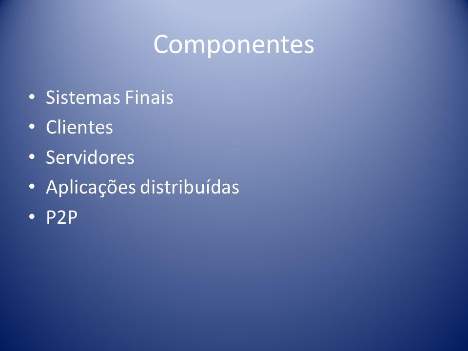 Componentes Sistemas Finais Clientes Servidores
