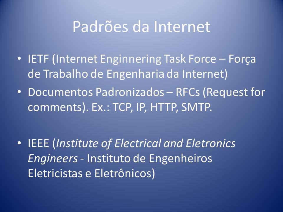 Padrões da Internet IETF (Internet Enginnering Task Force – Força de Trabalho de Engenharia da Internet)