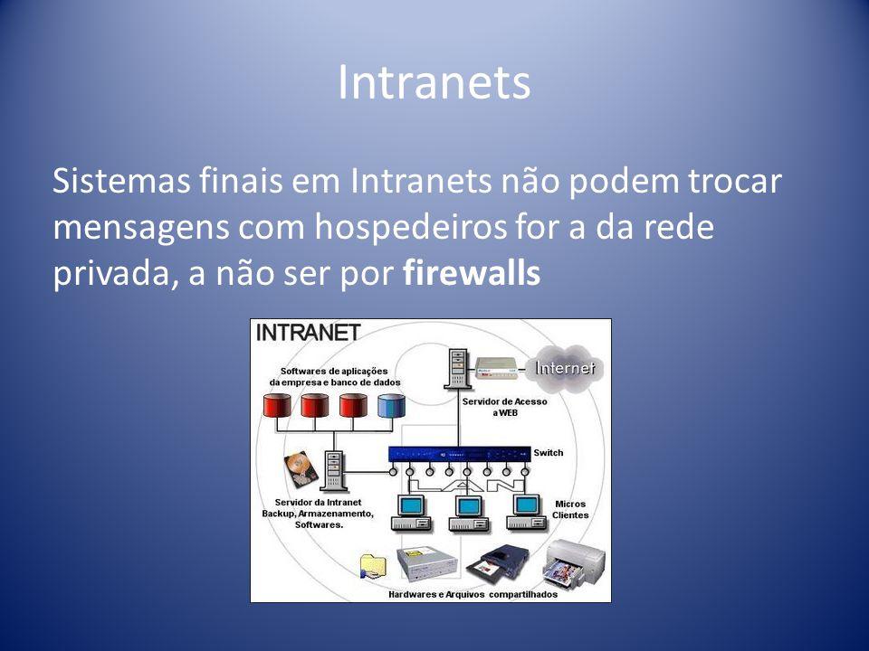 Intranets Sistemas finais em Intranets não podem trocar mensagens com hospedeiros for a da rede privada, a não ser por firewalls.