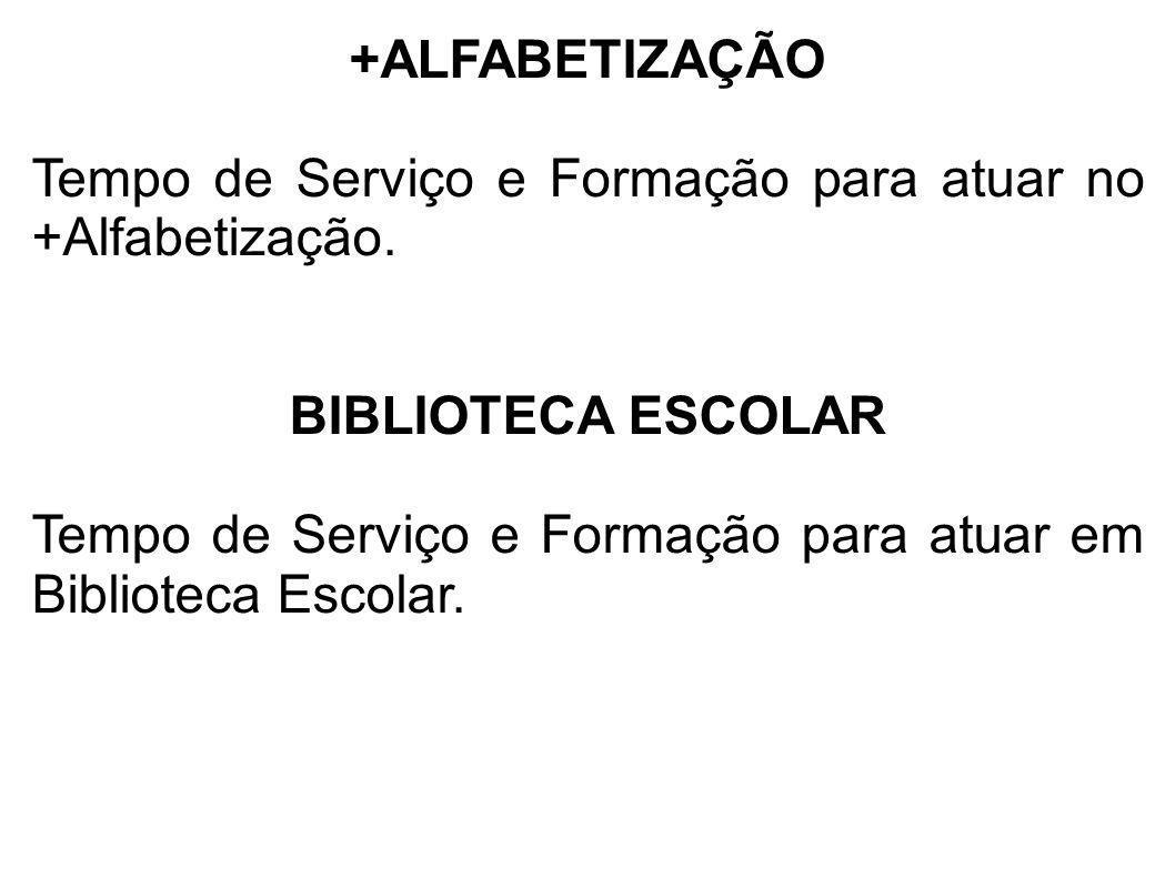+ALFABETIZAÇÃO Tempo de Serviço e Formação para atuar no +Alfabetização. BIBLIOTECA ESCOLAR.
