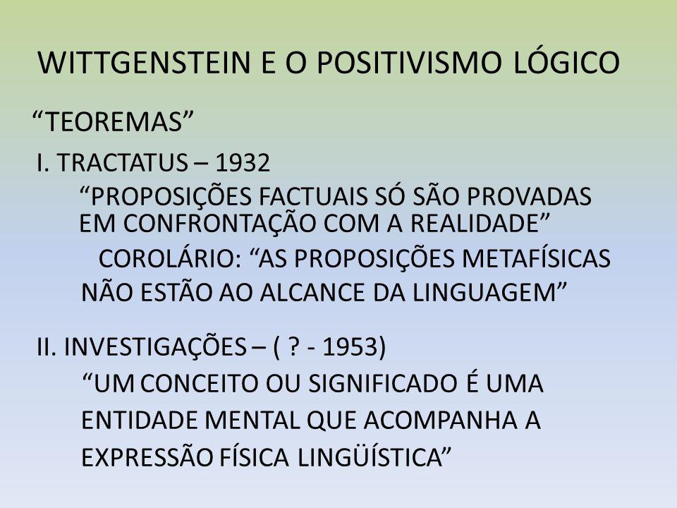 WITTGENSTEIN E O POSITIVISMO LÓGICO
