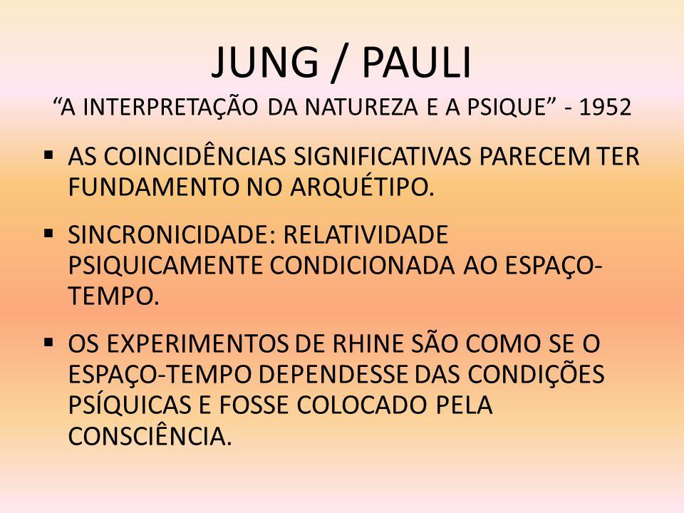 JUNG / PAULI A INTERPRETAÇÃO DA NATUREZA E A PSIQUE - 1952