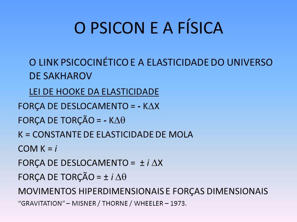 O PSICON E A FÍSICA O LINK PSICOCINÉTICO E A ELASTICIDADE DO UNIVERSO DE SAKHAROV. LEI DE HOOKE DA ELASTICIDADE.