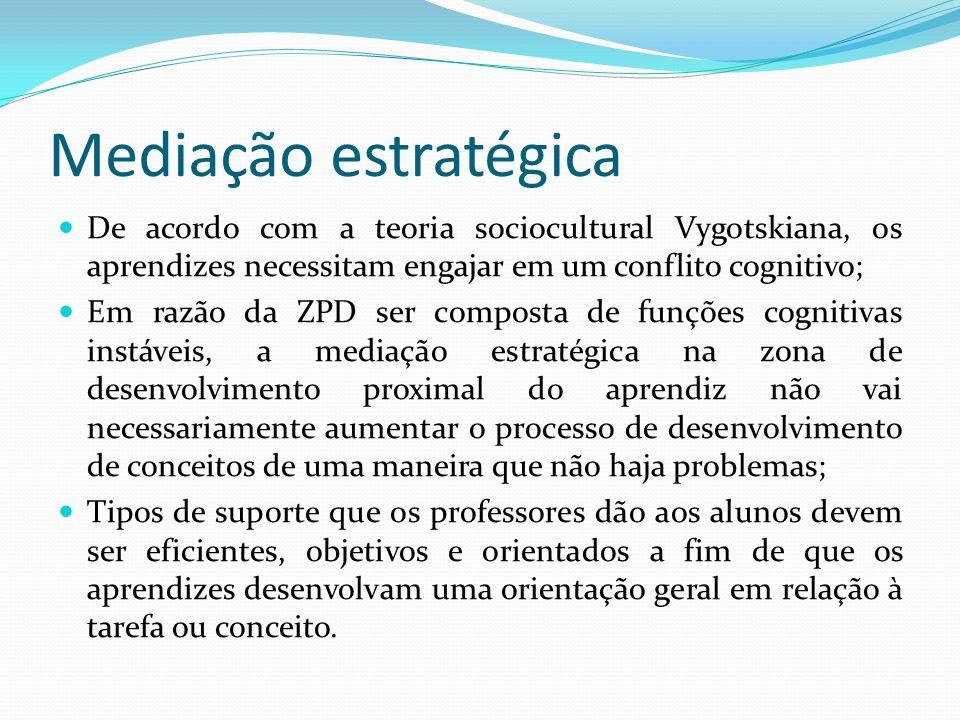 Mediação estratégica De acordo com a teoria sociocultural Vygotskiana, os aprendizes necessitam engajar em um conflito cognitivo;