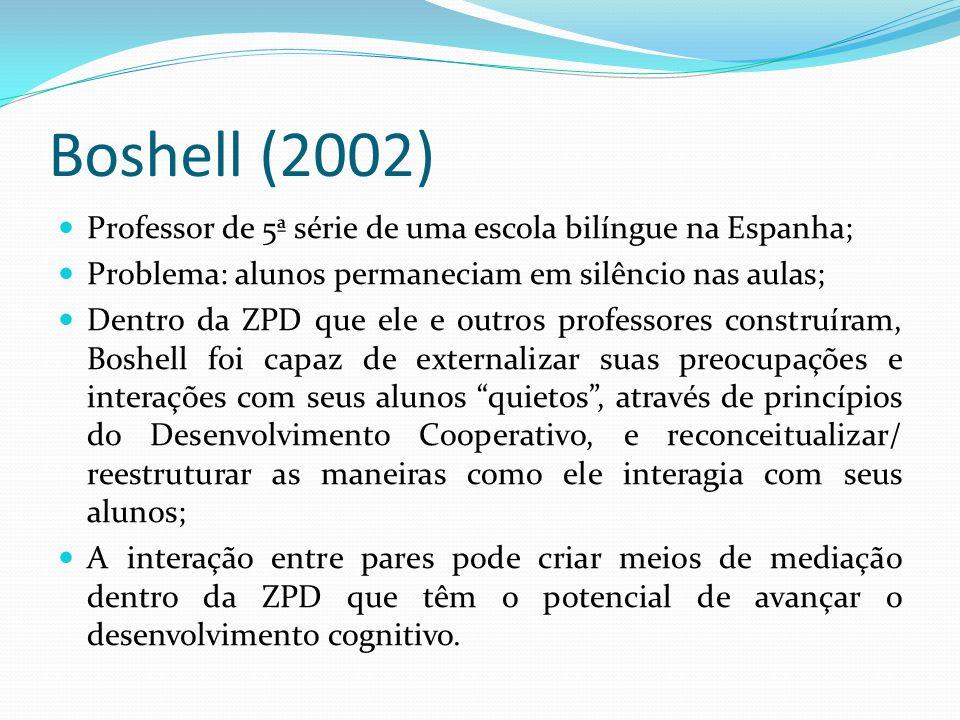 Boshell (2002) Professor de 5ª série de uma escola bilíngue na Espanha; Problema: alunos permaneciam em silêncio nas aulas;