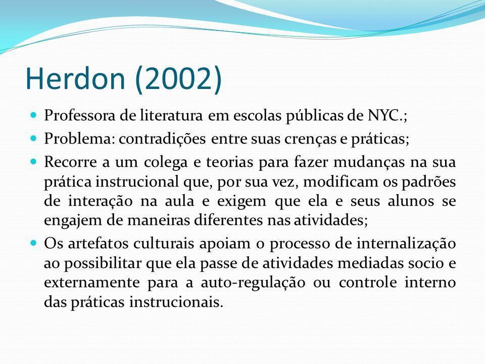 Herdon (2002) Professora de literatura em escolas públicas de NYC.;
