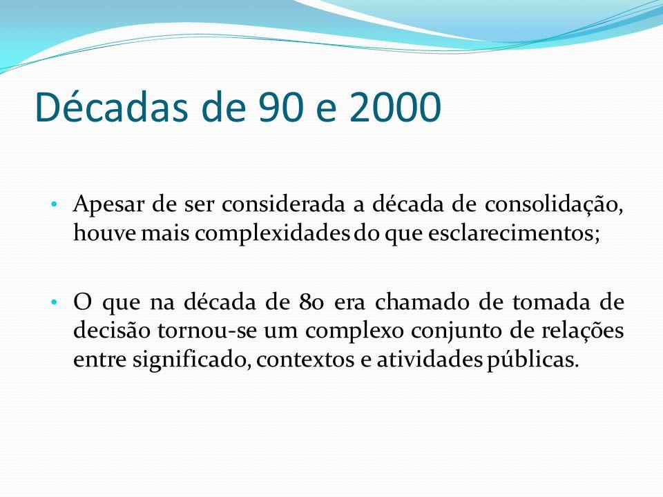 Décadas de 90 e 2000 Apesar de ser considerada a década de consolidação, houve mais complexidades do que esclarecimentos;