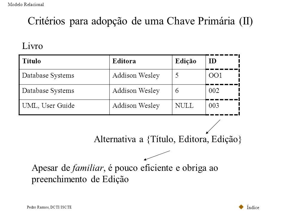 Critérios para adopção de uma Chave Primária (II)