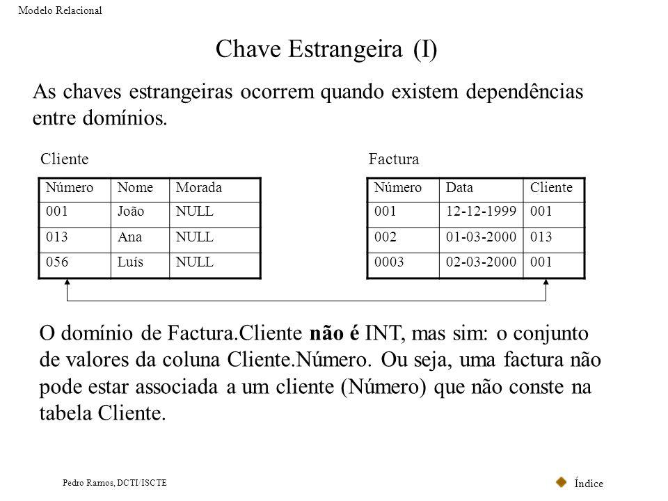 Modelo Relacional Chave Estrangeira (I) As chaves estrangeiras ocorrem quando existem dependências entre domínios.