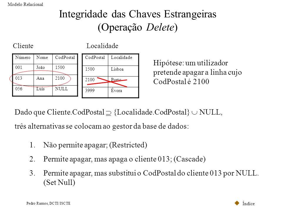 Integridade das Chaves Estrangeiras (Operação Delete)