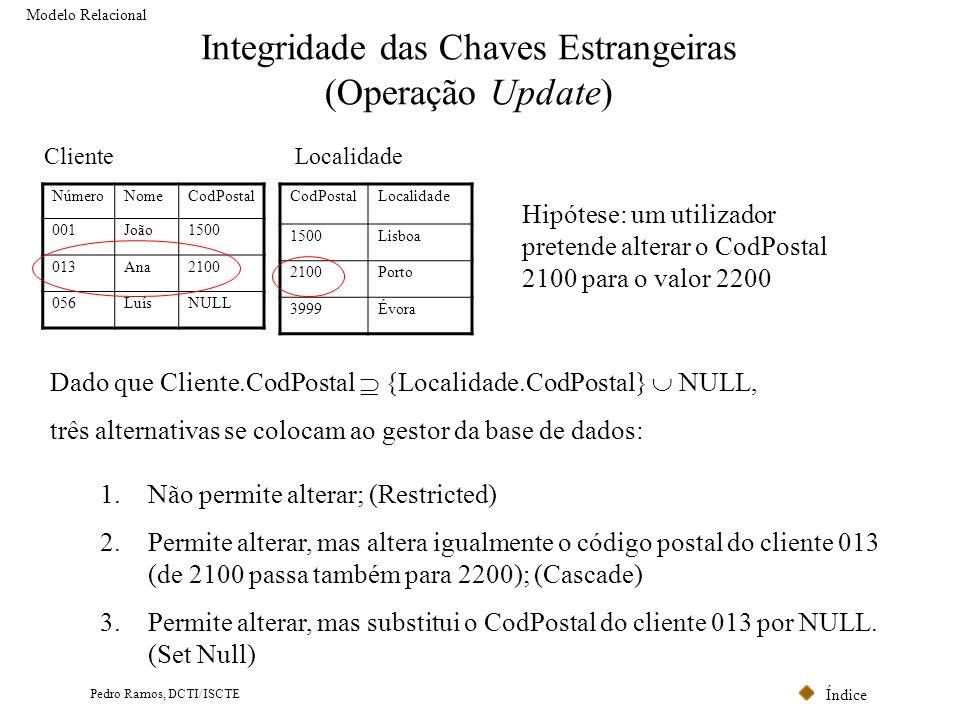 Integridade das Chaves Estrangeiras (Operação Update)