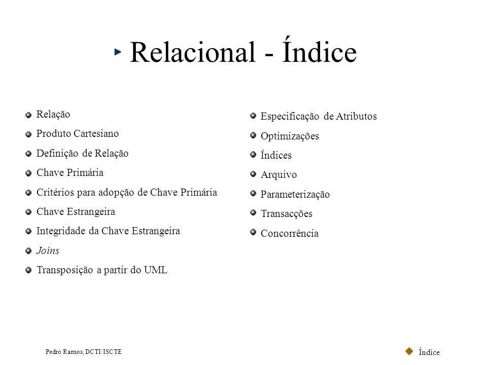 Relacional - Índice Relação Especificação de Atributos