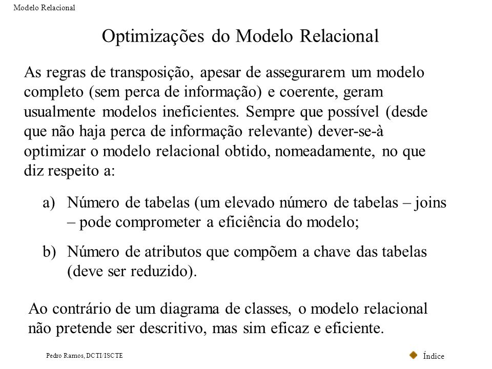 Optimizações do Modelo Relacional