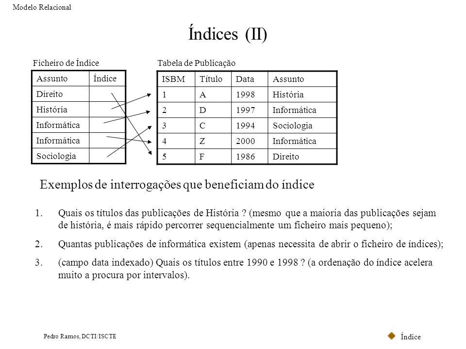 Índices (II) Exemplos de interrogações que beneficiam do índice